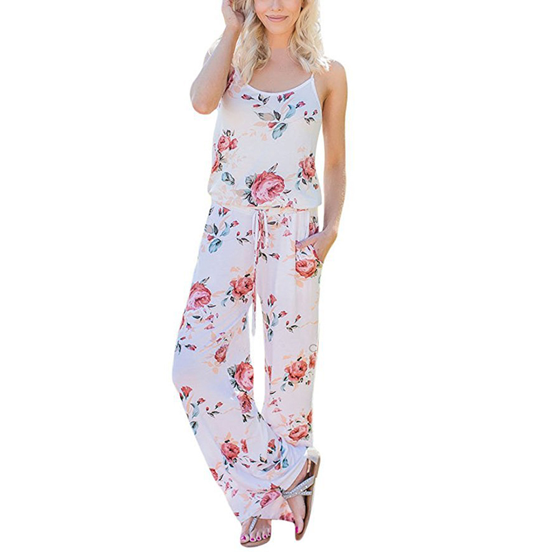 Spaghetti Strap Jumpsuit Women 2018 Summer Long Pants Floral Print Rompers Beach Casual Jumpsuits Sleeveless Sashes Playsuits 15