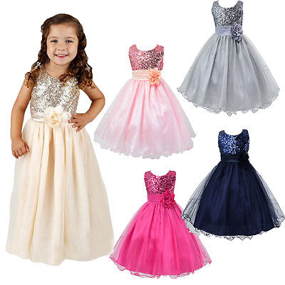 Flower Girl Kids Baby Xmas Bridesmaid Party Formal Sequin Ball Gown Dress 2-10Y<br><br>Aliexpress
