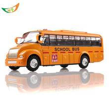 Alloy bus toy long metal yellow school bus car acoustooptical model toy kids birthday present(China)