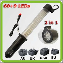 Portable led spotlight led work lamps LED torch rechargable battery 2 in 1 60+9 led inspection lamp for emergency garage camp(China)