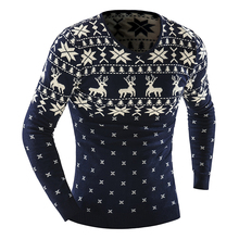 New 2016 Winter Mens Pullover V-Neck Christmas Sweater With Deer Fashion Print Brand Clothing Casual Long Sleeve Sweaters Men