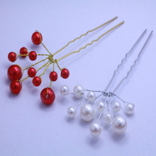 20 PCS Handmade White Red Pearl Bride Hair Pins Clip Bridal Hair Vines Wedding Hair Pieces U Sticks Fashion Head Accessories