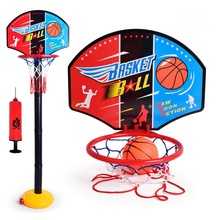 Kids Basketball Hoop Net Backboard Set Stand Height Adjustable Basketball Stand Sports Outdoor Toys with Inflator Pump