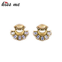 KISS ME Latest Stud Earrings Antique Gold Color Statement Jewelry Korean Fashion Earrings for Girls(China)