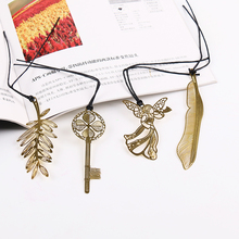 10 PCS Cute Kawaii Gold Metal Bookmark Vintage Key Feather Angel Bookmarks Paper Clip for Book Korean Stationery