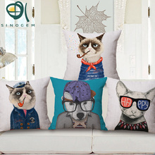 Sinogem 45*45 cm Decorative Cushion Covers 3 Styles Amercian Dogs Printed Sofa Throw Pillow Covers Pillowcover Sofa Decor Couch(China)