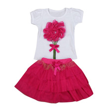 Baby Kids Girls Floral Baby Kids Girl Dress Short Sleeve Top T-Shirt+Skirt Outfits Clothes Set Fashion Cute hello kitty P3(China)