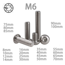 M6 Bolt A2-70 Button Head Socket Screw Bolt SUS304 Stainless Steel M6*(8/10/12/14/16/20/25/30/35/40/45/50/55/60~100) mm