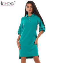 ICHOIX Autumn Winter women Blue Vestidos Ladies Office Dress Knee Length Solid Work Dress Red Casual Loose Three Quarte Dress(China)