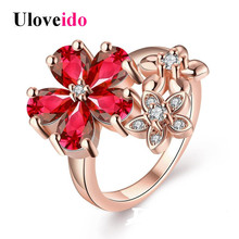 15% Off Uloveido Rose Gold Color flower Wedding Costume Jewelry Rings for Women Ring with Stones Bague Femme Crystal Punk R386