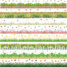 Flowers Baseboard Wall Stickers Grass Plants DIY Decals Garden Style Home Decor Floral Border Wallpaper Adhesive and Removal