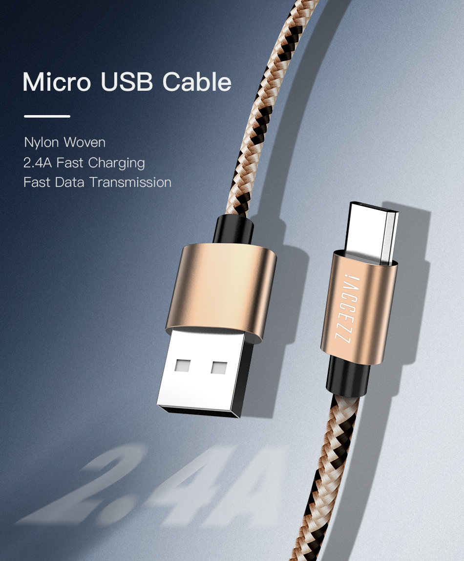 !ACCEZZ 2.4A Micro USB Cable For Samsung Galaxy S7 S6 Xiaomi Redmi 4A Android Mobile Phone Charger Cable Cord Durable Data Wire (1)