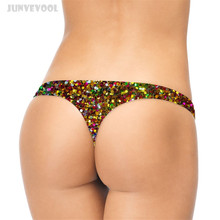 Buy Sequins Thong Shinny Pants Women Ladies Funny Lingerie 3D Geometry Printed G-string T-back Panty Thongs Panties Briefs Underwear