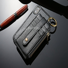 2 in 1 Dual Use Split Wallet Leather Case For iPhone X 8 I8 7 PLUS 6 6S 5s Card Wallet TPU Litchi Back Cover Car Mount Holder(China)