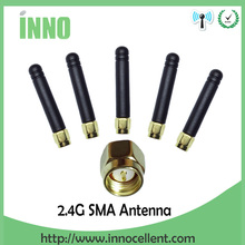 5pcs/lot 2.4 GHz antenna SMA Male connector 2dbi wifi antenna rubber Zigbee antenna short 5cm
