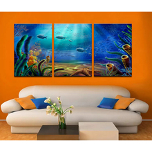 Modular Wall Painting Deep Sea World Modern Canvas Wall Art Fish Painting Photo Print Home Decorative HD Print on Fabric Canvas(China)