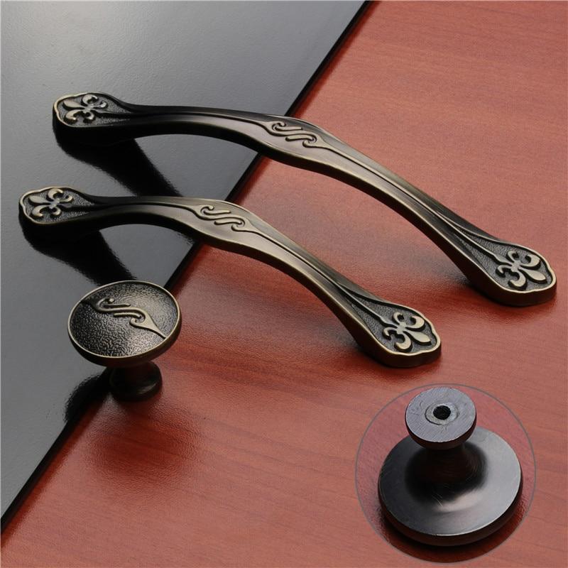 european green bronze simple kitchen cabinet door handles clothes press drawer pulls locker closet knobs for