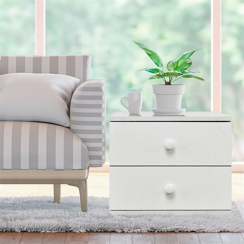 """13/"""" High Night Stand End Table Bedside Cabinet Bedroom Furni W//2 Storage Drawers"""