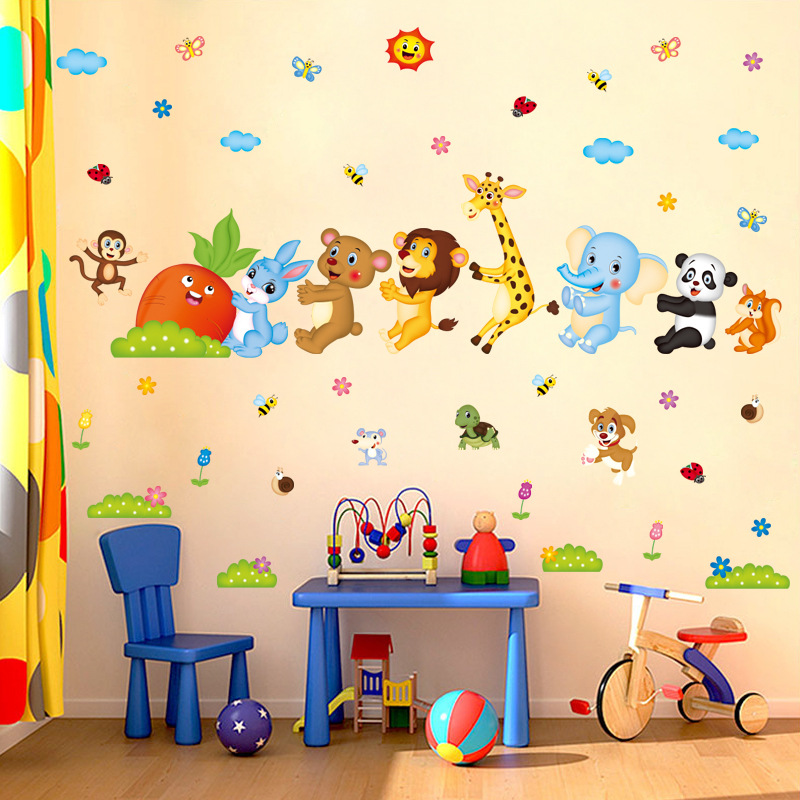 Cartoon Animal Friends Kids Baby Nursery Decals Wall Stickers DIY Flower Home Decor Door Bathroom Sticker Poster Wallstickers 4