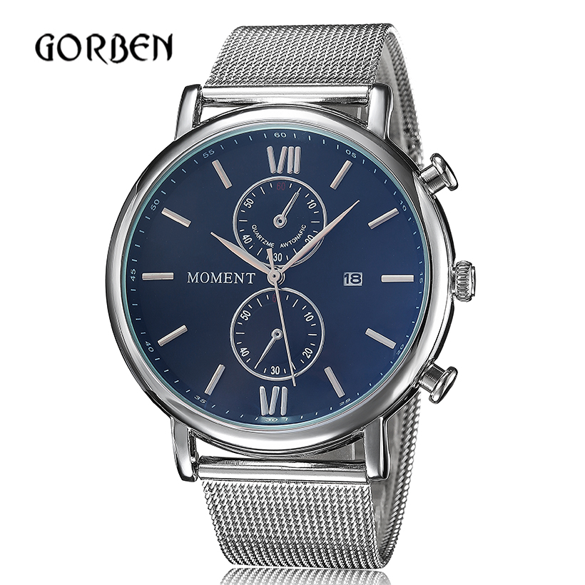 relojes hombre 2016 Mens Watches Fashion full Steel Luxury Dress Quartz Watches Mens Date Round Dial Relogio masculino<br><br>Aliexpress