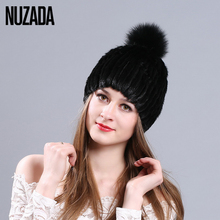 Brand NUZADA Quality Real Mink Fur Knitted Caps Winter Hat Women Lady Girl Skullies Beanies Cap Fox Fur Ball Keep Warm Features