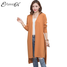V-collar Long Knitted Cardigan Sweater Coats Autumn 2017 New Women Jacket Large Size Clothes Loose Outerwear abrigos mujer LH225(China)