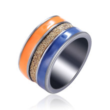 2017 HOT New Fashion Jewelry Top Blue Orange Enamel men women Rotation Black Gun Plated Stainless steel Ring mens rings(China)