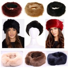 Hot Unisex Large Thick Faux Fake Fur Headwear Euramerican Headband Winter ear Warm Ski Hat Plush Head Hair Bands(China)