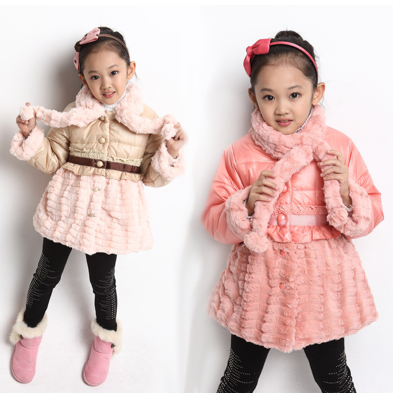 Free shipping Winter new arrival  girl high-grade wool fabric stitching cotton-padded clothes outerwear children clothingОдежда и ак�е��уары<br><br><br>Aliexpress