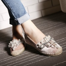 2017 New Pearl Espadrille Soft Leather Rhinestone Women Flat Shoes Loafers Valentine Shoes Party Shoes Brand Design XWA0307-5