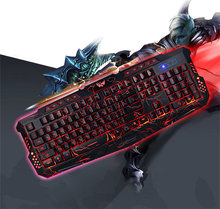 Backlit  LED Switch M-200 Bilingual Russian English Gaming Keyboard 3 Backlight Modes USB Wired Powered 19 Keys Conflict free