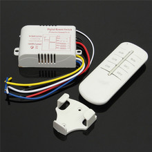 220V 3 Channels Way ON/OFF Digital Wireless Light Lamp Home Wall Corridor Splitter Box Durable Remote Control(China)