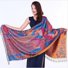 Scarves Wraps 2015 new double thick winter lengthened double jacquard scarves retro national wind peacock warm cotton shawl
