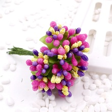 cheap 144pcs Artificial Stamen Flower For Wedding Home Decoration Pistil DIY Scrapbooking Garland Craft Fake Flowers(China)