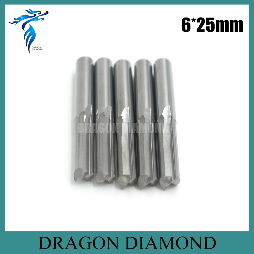 Free Shipping 5pcs 6*25MM 2 Straight Flutes 2D Engraving Milling Bits, CNC Router Tools Bis on Foam, Wood, MDF, PVC, ABS<br><br>Aliexpress