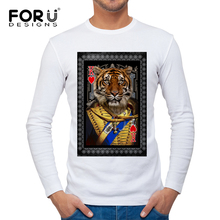 FORUDESIGNS New Arrival Men 3D Poker Tiger Pattern T Shirt Mens Spring Summer Soft White T Shirts Top Tees Slim Fit Hip Hop Tee