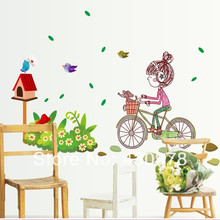 QZ770 Free Shipping 1Pcs Cute Girl Riding Bike Dog In Basket Spring Leaf Bird Living Room Decoration Removable PVC Wall Sticker