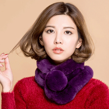 Real Fur Scarf 2016 Autumn And Winter Genuine  Fur Scarves Natural Rex Rabbit Scarf With Ball 2016 Warm Neck Warmers