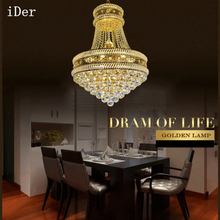 Iron crystal chandelier modern creative restaurant lights bedroom lights chandelier gold crystal lamp wholesale(China)
