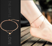 Buy Summer Style Charming Heart Pendant Two Chains Golden Anklet Bracelet Love Foot Jewelry Barefoot Sandals Anklets women for $1.06 in AliExpress store