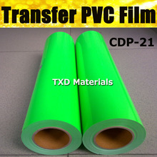 CDP-21 COLOR Fluorescence green pvc heat transfer film 0.5*25m Per roll , plotter vinyl cutter transfer film with free shipping