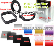 (14 IN 1) Camera Lens Filters Kit 77mm Adapter Ring LENS Hood ND2/4/8/16 Gradient Filters 10P Bag Free Shipping(China)