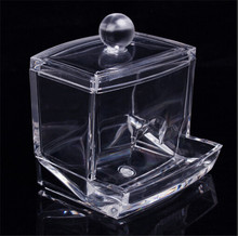 Transparent Clear Acrylic Q-tip Holder Box Cotton Swabs Stick Storage Cosmetic Makeup Case Boxes  EJ870720