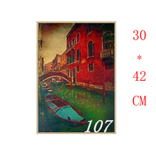 NO.107,Venice River course / boat /Famous design view/kraft paper/Wall stickers/Retro Bar Poster/decorative painting30x42cm(China)