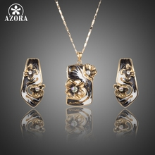 AZORA Unique Gold Color Black Flower Oil Painting Pattern Stud Earrings and Pendant Necklace Jewelry Set TG0186