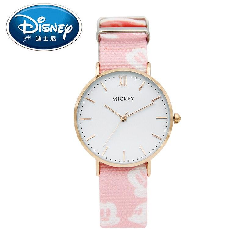Disney Women Lady Watch Simple Fashion Luxury Genuine Brand Quartz Wristwatches Girl Student Canvas Waterproof Mickey clock<br>