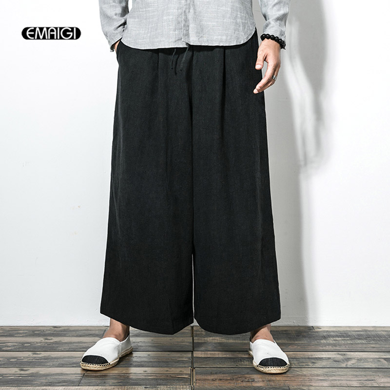 Cotton Linen Casual Pant for Men Wide Leg Pants Japan Style Kimono Punk Style Male Women Fashion Loose Trousers Skirt Pant