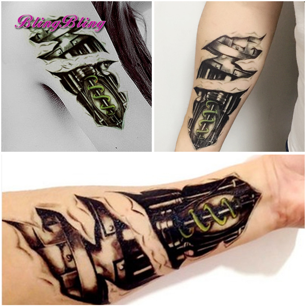 Large Temporary Tattoos Sticker Men Arm lelft Shoulder Fake Tattoo Body Art sticker For Guys Prothorax Twinset 3d Fake Taty 5
