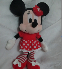 Original Special Soft Cute Minnie Mouse With Flower Headware Girl Baby Valentine's Day Birthday Gift Plush Toy Doll