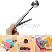 Silver Stainless Steel Ground Coffee Tea Measuring Scoop Spoon With Bag Seal Clip A13433